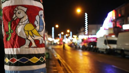The street is lit up as the Tamil Indian community in Manor Park celebrates the annual lights swith