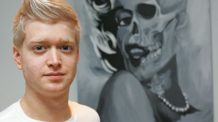 Chris Gilbert with the specially commissioned 'skull' picture of Marilyn Monroe
