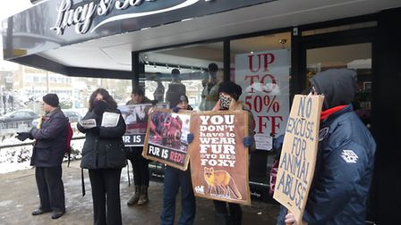 The Essex Animal Defenders demo outside Lucy Mecklenburgh's shop