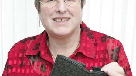 Jean Hagon after being reunited with her purse