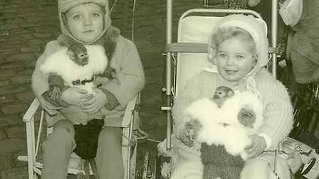 Sharon Hedden and brother Dean Fox with the monkeys in Romford Market, 1964