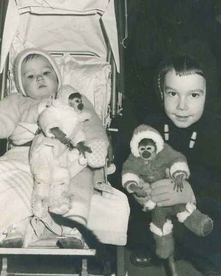 Stuart Brown and sister Lin with the monkeys in Romford Market, circa 1968