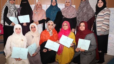 A group of muslim women received certificates after completing the first Nurturing course by Rukhsha