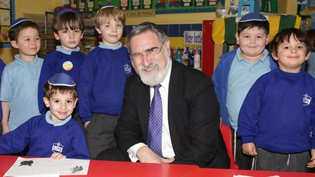 Chief Rabbi Lord Jonathan Sacks visited the school in preparation of his retirement in August
