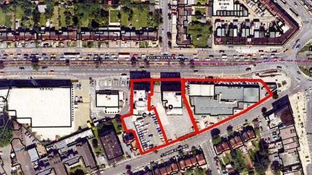 A map, provided by Redbridge Council, showing an area identifed for retail and housing