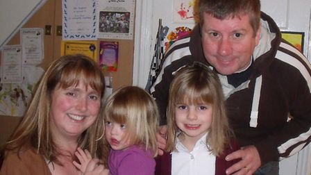 Laura Davies, with her daughters Katie and Jenna, and husband Paul.