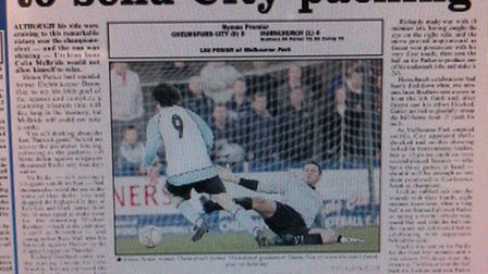 How the Recorder reported Hornchurch's 4-0 win at Chelmsford in 2008