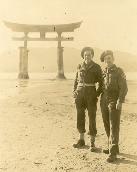 Raymond, left, aged 18. He helped clean up in the aftermath of the Hiroshima atomic bombing.