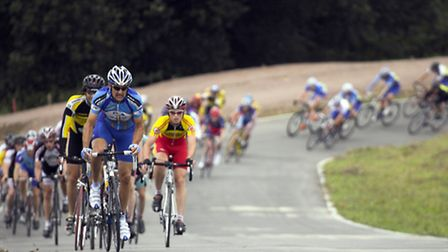 Cyclists durng a race at Redbridge Cycling Centre