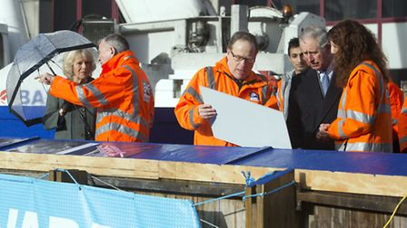 Prince Charles and Camilla tour the Crossrail site