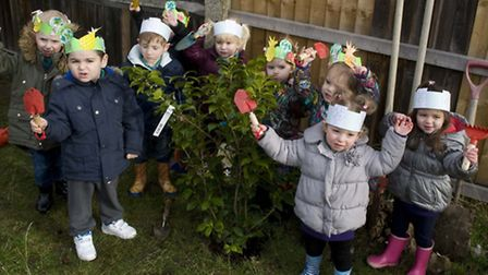Children from the synagogue's nursery planted the trees