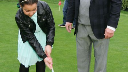 Alicia Gordon, age 11, will benefit from the Dial-a-Dream charity. She tried out golf with Wanstead