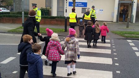Officers talked to children at Engayne Primary School