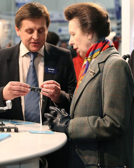 HRH Princess Anne learns about the latest sailing gadgets as she visits the Tullet Prebon London Boa