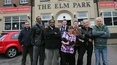 Local residents and business owners outside the Elm Park Hotel. Picture: Steve Poston