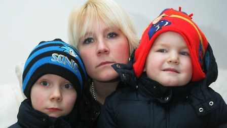 Emma Clark with her sons Charlie, seven, and Alfie, three