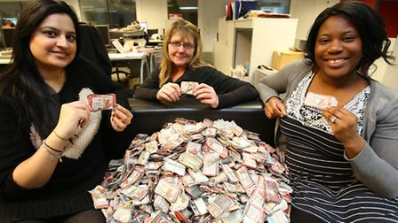 The vouchers arrive in our office. L-R: Recorder staff Pooja Minhas, Gill Broad and Elizabeth Akinpe