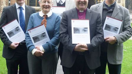 Pictured at the action pack launch outside Chelmsford Cathedral on 15 January 2013, left to right: J