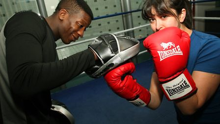 Newham Recorder reporter Melissa York in a boxing training with Steven Gallante at the Reebook gym i