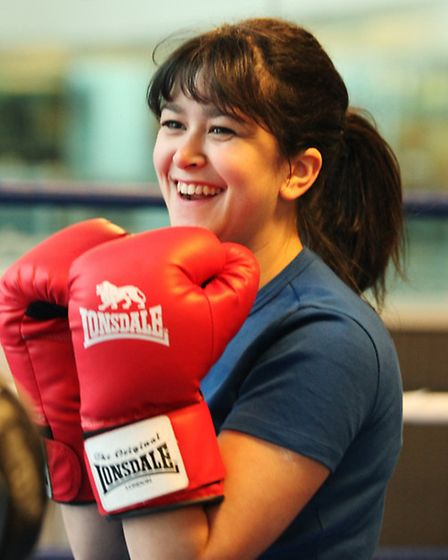 Newham Recorder reporter Melissa York in a boxing training at the Reebook gym in Canary Wharf.