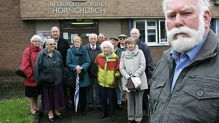 Cllr John Mylod, residents and councillors at Hornchurch Police Station when the petition was launch