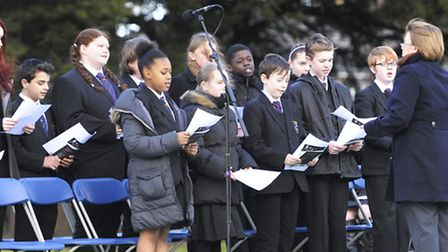 A memorial service takes place to mark the 68th anniversary of the Holocaust, in Coronation gardens,