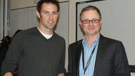 Olympian Mark Hunter visited Havering Sixth Form College last Friday. Mark (left) with Principal Pau