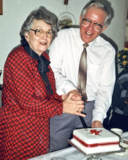Jessie and John Pask on their ruby wedding anniversary in 1988