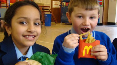 """Venaya Athwal and Alfie Tarsey get ready to tuck into their """"artworks"""" - a homemade McDonalds meal"""