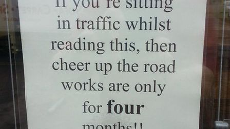 The sign about Hornchurch roadworks at Wyndham Hair