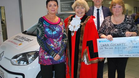 Diane Cole and Linda Cockett, pictured with Havering's Mayor Cllr Lynden Thorpe and Inchcape Volkswa