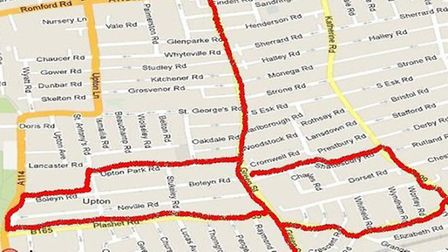 The 27-year-old is banned from entering the area marked in red on the map.