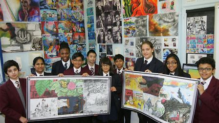 Valentines High and Ilford County High School students with the art collaboration