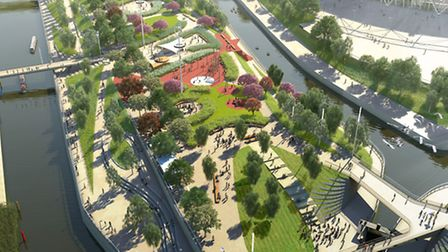 Artist's impression of the South Plaza when the Olympic Park reopens