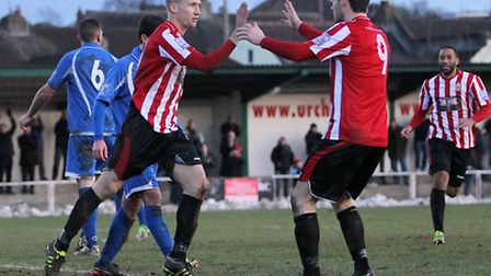 Lewis Smith celebrates his equalising goal for Hornchurch with Martin Tuohy (Gavin Ellis/TGS)