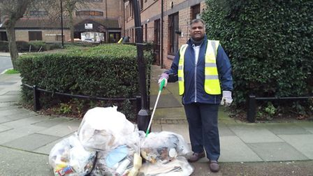 Path Prabha with some of the bags of litter he has collected