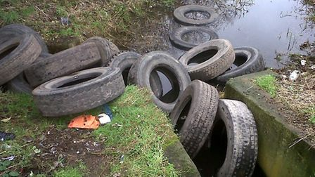 The Environment Agency found the dumped tyres in the River Ingrebourne, Rainham