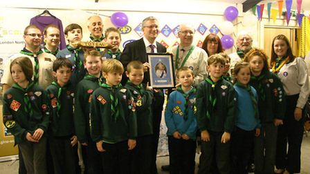 The 3rd Scout Group Collier Row with adult helpers, founder Alf Reeve and Andrew Rosindell MP