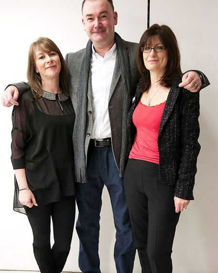 Jon, sporting his smarth-casual look, with Debenhams personal shoppers Lynne and Andy