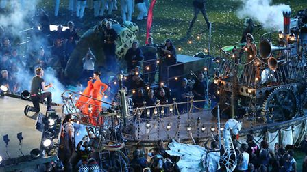Coldplay and Rhiannah performing at the Olympic Stadium for the closing ceremony of the Paralympic G