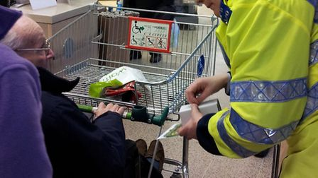 PC Julie Wade with shoppers at Waitrose