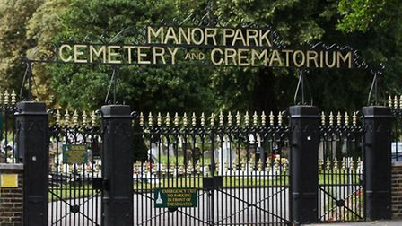 The entrance to the Manor Park Cemetery and Crematorium