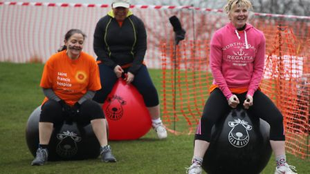Former school friends (l-r) Julia Turner, Mandy Cubitt and Tina Cole take part in the challenge