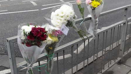 Flowers have been left at the scene of Tuesday's accident