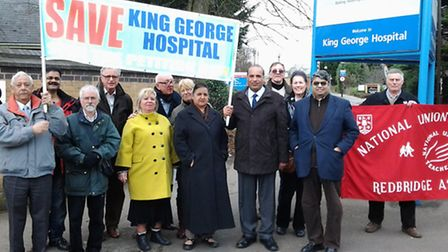 Save King George Hospital campaigners, residents and councillors outside the hospital during a protest against the closure...
