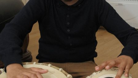 Tarun Odedra plays the tabla. He has played drums since he was seven