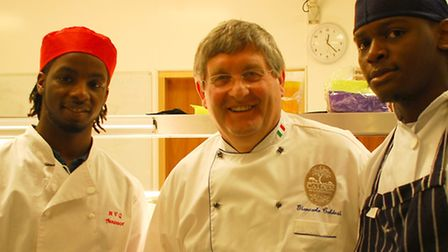 Chef Giancarlo Caldesi (centre) with Redbridge College students