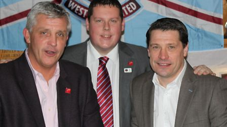 Golf club captain Ian Morgan with former West Ham players Tony Gale (left) and Tony Cottee (right)