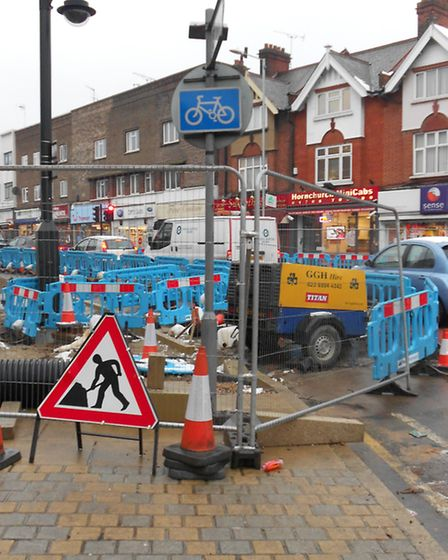Roadworks in Hornchurch town centre