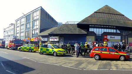 Emergency services outside the station during Tuesday's chemical incident alert. Picture: Vinay Hat